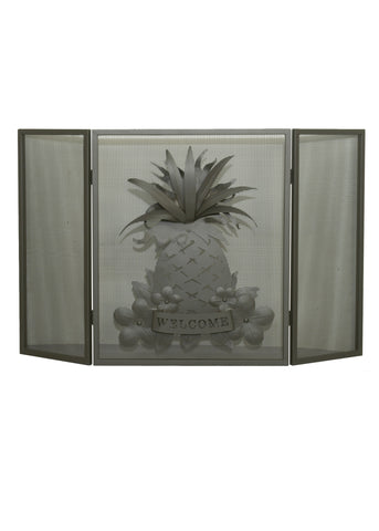 "49""W X 30""H Welcome Pineapple Folding Fireplace Screen"