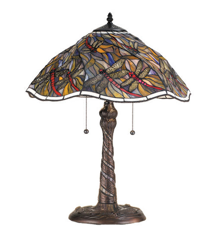 "23.5""H Spiral Dragonfly W/ Twisted Fly Mosaic Base Table Lamp"