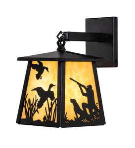 "7""W Duck Hunter W/Dog Outdoor Wall Sconce"