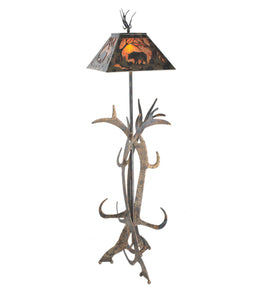 "61""H Bear at Dawn Antler Lodge Floor Lamp"