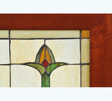 "24""W X 14""H Bud Trio Wood Frame Arts & Crafts Stained Glass Window"