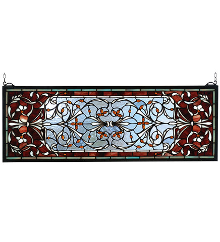 "28""W X 10""H Versaille Transom Stained Glass Window"