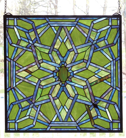 "22""W X 22""H Starburst Stained Glass Window"