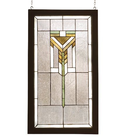 "17""W X 30""H Prairie Wood Frame Stained Glass Window"