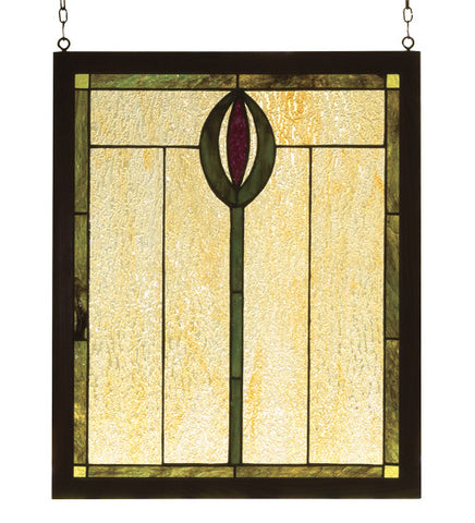 "14""W X 17""H Spear Wood Frame Stained Glass Window"