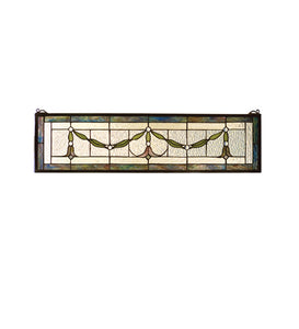 "31.5""W X 8""H Garland Swag Transom Stained Glass Window"