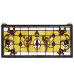 "22""W X 10""H Lancaster Floral Wildlife Stained Glass Window"