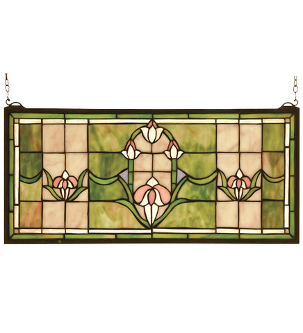 "24""W X 11""H Tulips Transom Stained Glass Window"