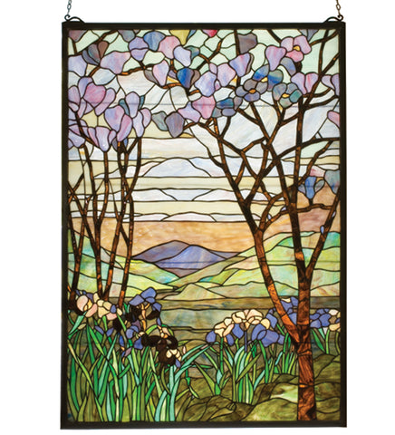 "22""W X 30""H Tiffany Magnolia & Iris Stained Glass Window"