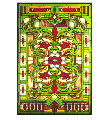 "22.5""W X 33.10""H Estate Floral Stained Glass Window"