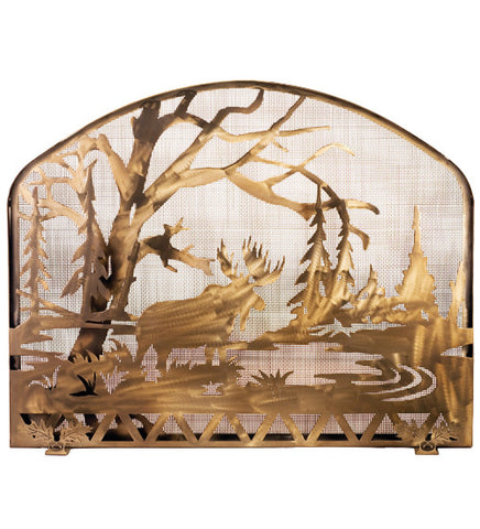 "39.5""W X 31.5""H Moose Creek Metal Fireplace Screen"