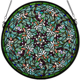 "22""W X 22""H Tiffany Dragonfly Swirl Medallion Window"
