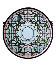 "20""W X 20""H Tulip Bevel Medallion Stained Glass Window"
