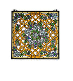"22""W X 22""H Shamrock Garden Stained Glass Window"