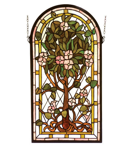 "15""W X 29""H Arched Tree Of Life Stained Glass Window-"