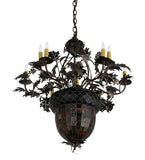 "34""W Tiffany Greenbriar Oak 9 Arm Lodge Chandelier"