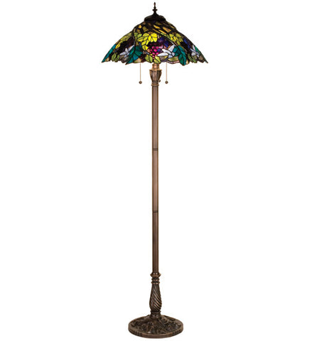 "64.5""H Spiral Grape Stained Glass Floor Lamp"