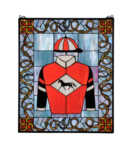 "25""W X 30""H Jockey Silks Stained Glass Window"