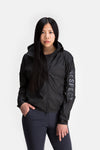 RYU Womens Wind Shell Jacket in Black / Sleeve Print