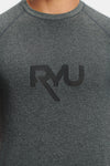 RYU Mens Graphic Vapor Crew Neck in Asphalt Heather