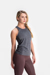 RYU Womens Vapor Racerback Tank in Asphalt Heather