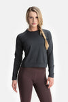 RYU Womens MidLayr Crew in Asphalt Heather