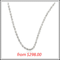 10K WHITE GOLD 3MM D-CUT ROPE CHAIN NECKLACE