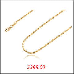 10K YELLOW GOLD 2.5MM SOLID D-CUT ROPE CHAIN NECKLACE