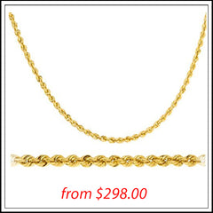 14K YELLOW GOLD 3MM D-CUT ROPE CHAIN
