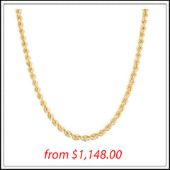 14K YELLOW GOLD 6MM D-CUT ROPE CHAIN