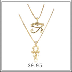 GOLDTONE EYE OF HORUS AND ANKH MICRO PENDANT