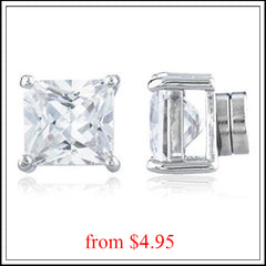 magnetic earrings square cz