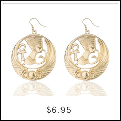 nefertiti ankh cross and wings design dangle earrings