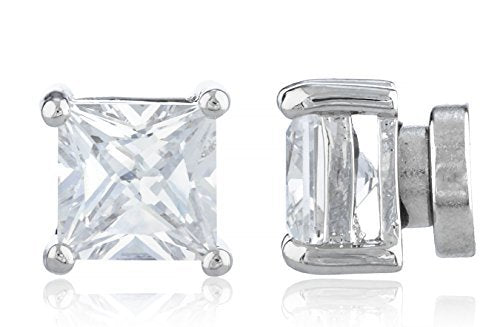 Silvertone Magnetic Earrings with Clear Cz...