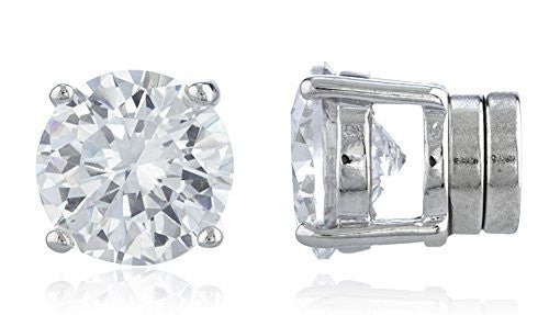 $1-10 - Silvertone With Clear Cz Round Magnetic Stud Earrings