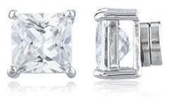 $1-10 - Silvertone With Clear Cz Square Magnetic Stud Earrings