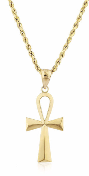 Ankh Cross Pendant with a Rope Chain
