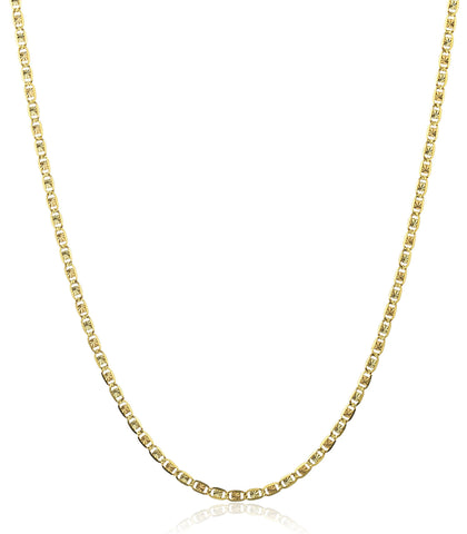 10k Tri Tone Gold 2mm Valentino Chain Necklace
