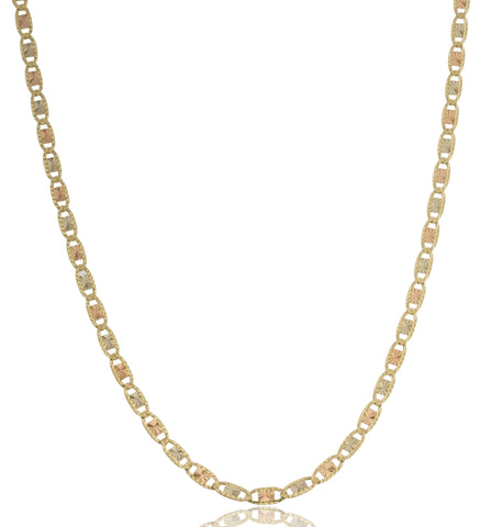 10k Tri Tone Gold 3.5mm Solid Valentino Chain Necklace