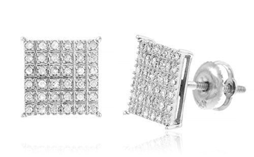 10k White Gold .32 Cttw Diamond Square Screw Back Stud Earrings