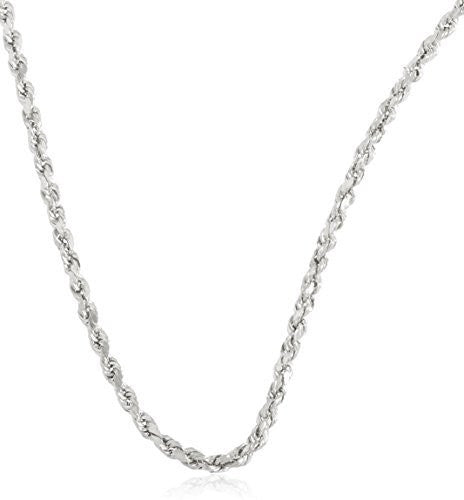 "10k White Gold 3mm D-cut Rope Chain Necklace - 18"" - 30"" Available"