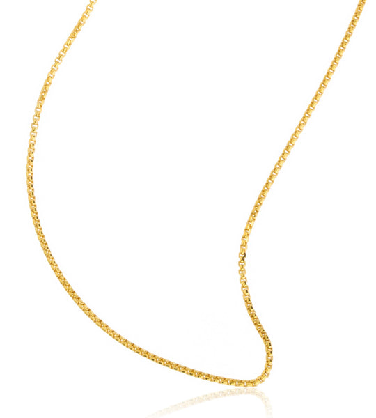 10k Yellow Gold 1.6mm Hollow Box Chain Necklace - Available In Many Sizes