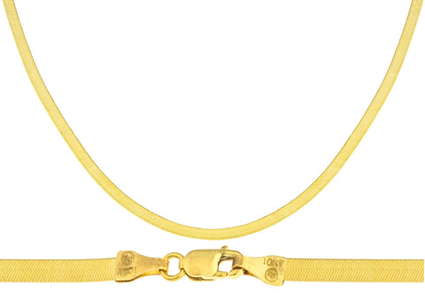 10k Yellow Gold 3mm Herringbone Chain Necklace - Available In 16, 18, 20, 22, And 24