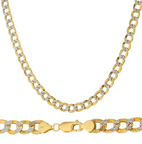 "10k Yellow Gold 8mm Pave Cuban Chain- 8.5"" & 30"" Available (30 Inches)"