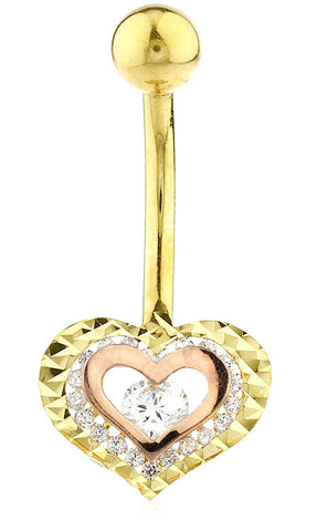Belly Button Ring Double Heart with CZ Stone