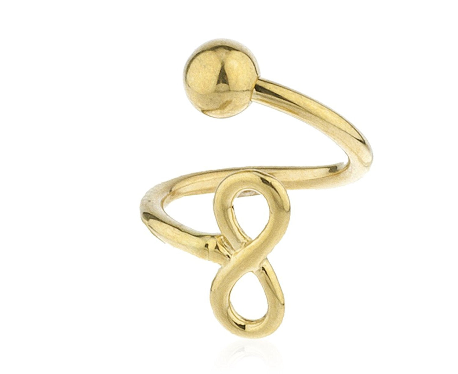 10k yellow gold belly button ring infinity design