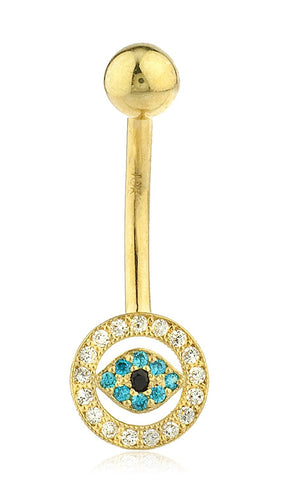 Belly Button Ring with Cz Evil Eye