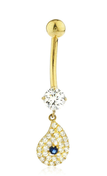 Belly Button Ring with Iced out Tear Drop Cz Stones