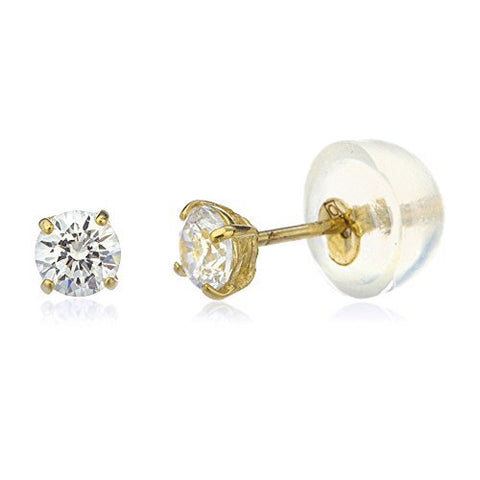 10k Yellow Gold Round Basket Setting CZ Stud Earrings with Silicone Back