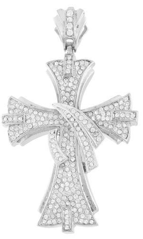 Goldtone with Clear Iced Out Wrapped Center Cross Pendant